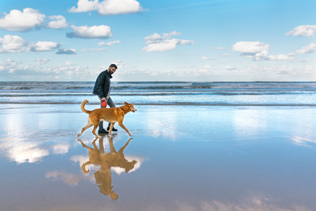 Man walking on the beach with his dog