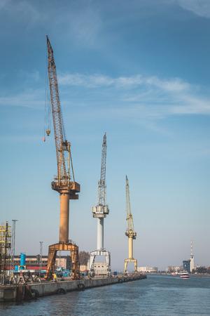 Germany, Warnemuende, Baltic Sea, Rostock Port, cranes