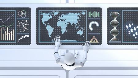 Roboter working on working desk, screens, 3D Rendering LANG_EVOIMAGES