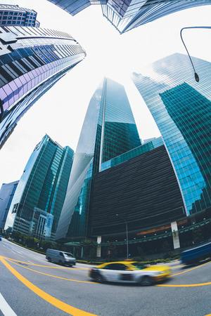 Singapore, downtown, road, fish-eye