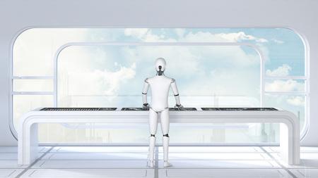 Roboter working in futuristic room, 3D Rendering
