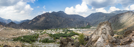 Oman, panoramic view of Wadi Bani Awf, Al Hajir