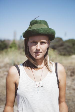 Portrait of hippie wearing hat