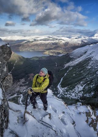 Scotland, Glencoe, Beinn aBheithir, mountaineering in winter