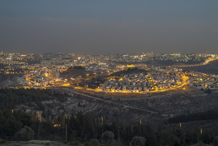 Israel, Jerusalem, cityscape at night as seen from Nabi Samwil mountain LANG_EVOIMAGES