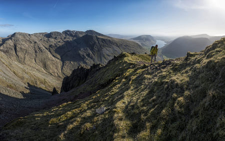England, Cumbria, Lake District, Wasdale Valley, Great Gable, climber