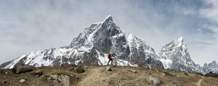 Nepal, Himalaya, Solo Khumbu, Ama Dablam, man trekking