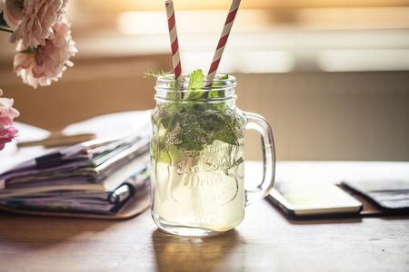 Homemade herb lemonade, notebook, smartphone, homeoffice LANG_EVOIMAGES