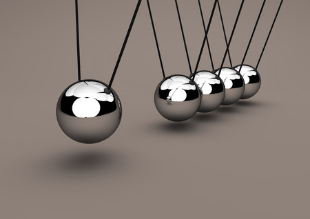Newtons cradle, 3D Illustration
