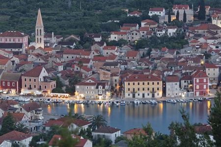 Croatia, Hvar Island, Stari Grad, View of harbour in the evening