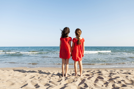 Back view of two little sisters standing at waterside on the beach looking to the sea