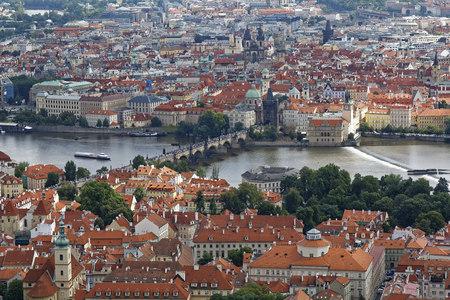 Czech Republic, Prague, Old town, Charles bridge and Vlatva river