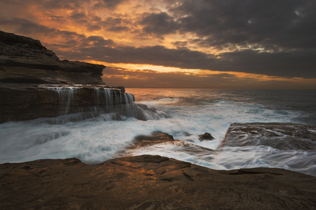 Australia, New South Wales, Maroubra, coast at sunet
