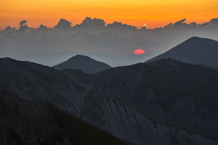 Italy, Abruzzo, Gran Sasso e Monti della Laga National Park, Pizzo Cefalone at sunset