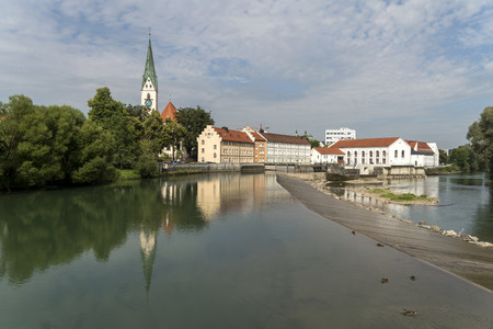 Germany, Bavaria, Allgaeu, Kempten, cityscape with St. Mang Church and river Iller