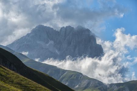 Italy, Abruzzo, Gran Sasso e Monti della Laga National Park, Corno Grande in the evening LANG_EVOIMAGES