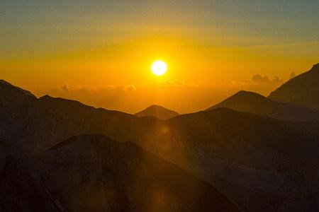 Italy, Abruzzo, Gran Sasso e Monti della Laga National Park, Sunset on Mt Pizzo Cefalone
