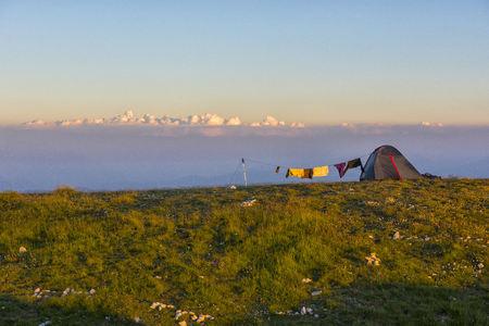 Italy, Abruzzo, Gran Sasso e Monti della Laga National Park, Tent in the evening
