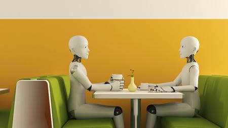 Robots in cafe, 3D Rendering LANG_EVOIMAGES