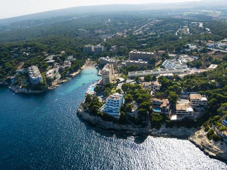 Spain, Mallorca, Palma de Mallorca, Aerial view, Cala Vinyes, bay