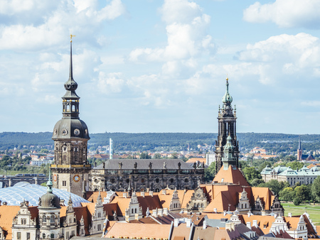 Germany, Dresden, Hausmannsturm and Dresden Cathedral in the old town LANG_EVOIMAGES