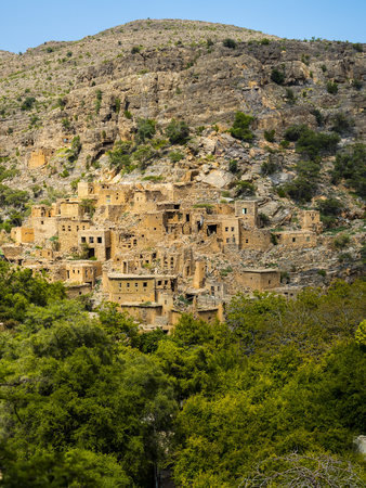 Oman, Jabal Akhdar, Abandoned village Wadi Bani Habin LANG_EVOIMAGES