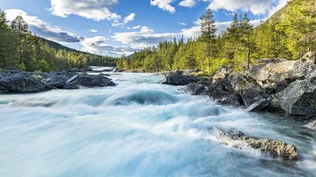 Norway, Oppland, Framruste, Pollfoss waterfall LANG_EVOIMAGES