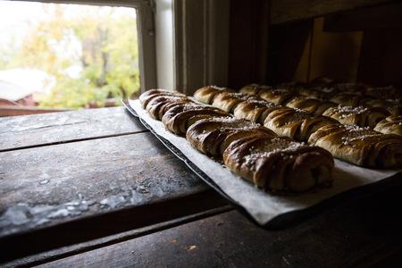 Sweden, cinnamon rolls in a bakery