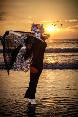 Mexico, Riviera Nayarit, female skeleton figure symbolizing the celebration of death on Dia de Los Muertos