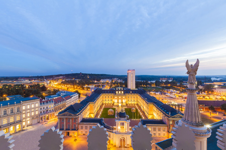 Germany, Potsdam, view to lighted Potsdam City Palace with Fortuna Portal from St. Nicholas church LANG_EVOIMAGES