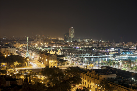 Spain, Barcelona, view to the lighted city at night LANG_EVOIMAGES
