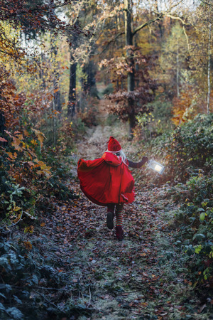 Little imp running in forest in forest, carrying lantern