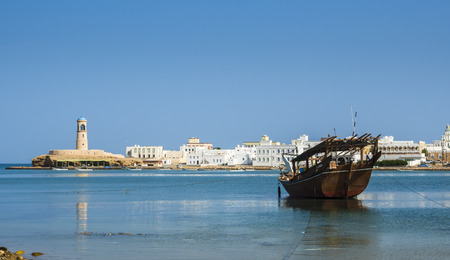 Oman, Ash Sharqiyah, Ad Daffah, moored dhow in front of seaport Sur LANG_EVOIMAGES