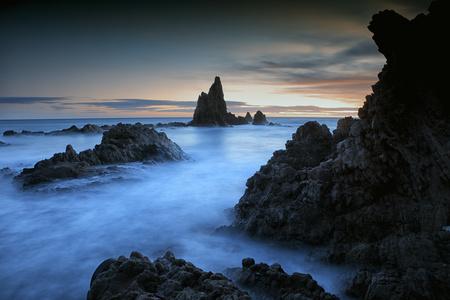 Spain, Almeria, rocky volcanic coastline of Cabo de Gata Natural Park