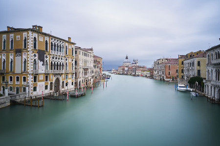 Italy, Venice, view to Canal Grande  from Academia Bridge at twilight