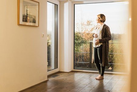Pregnant woman standing at the window LANG_EVOIMAGES