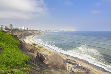 Peru, Lima, Miraflores, skyline, steep coast, road Circuito de Playas LANG_EVOIMAGES