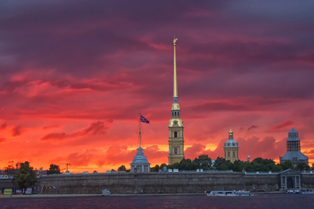 Russia, St. Petersburg, Saints Peter and Paul Cathedral at dusk