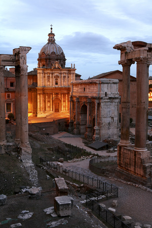 Italy, Rome, Temple of Vespasian and Titus and Church of Santi Luca e Martina at Forum Romanum LANG_EVOIMAGES