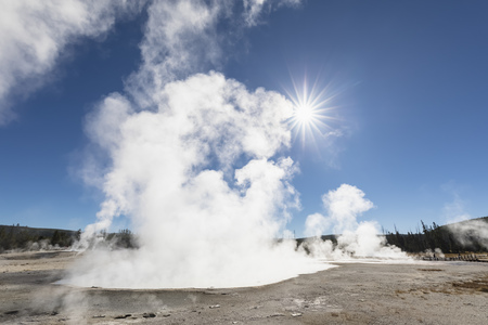USA, Yellowstone National Park, Black Sand Basin, steaming Rainbow Pool LANG_EVOIMAGES