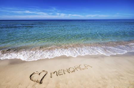 Spain, Menorca, Son Bou, beach, Menorca and heart drawn in the sand