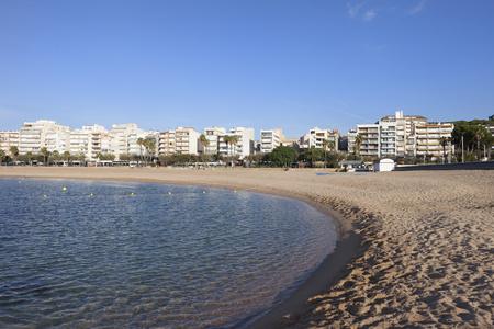 Spain, Catalonia, Blanes, beach and sea in resort town on Costa Brava