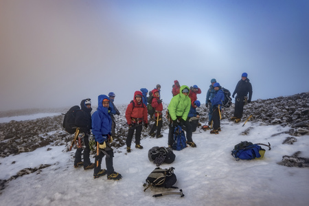UK, Scotland, Ben Nevis, mountaineers on summit