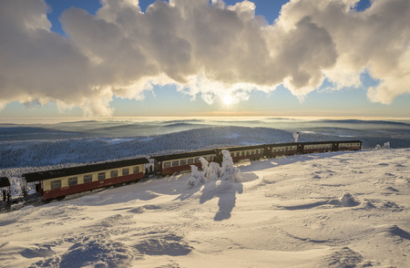Germany, Saxony-Anhalt, Harz National Park, Brocken Railway at winter evening