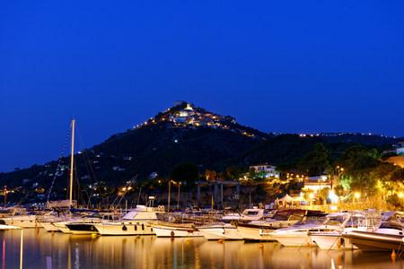 Italy, Campania, Province of Salerno, Cilento National Park, Castellabate, San Marco, harbor at dusk LANG_EVOIMAGES