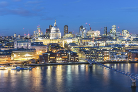 UK, London, Millennium Bridge and St Pauls Cathedral aerial view at dusk