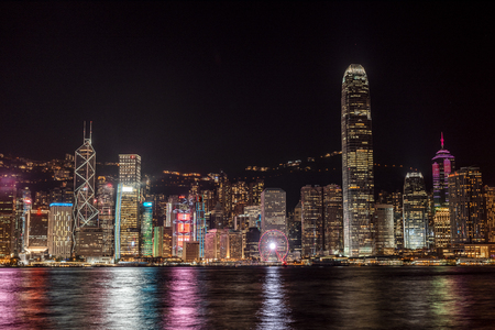 Hong Kong, Tsim Sha Tsui, cityscape at night