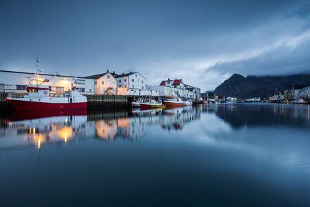 Norway, Lofoten Islands, Henningsvaer in the evening