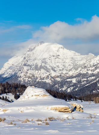 feature: Soda Butte, a thermal feature in Yellowstone National Park Stock Photo