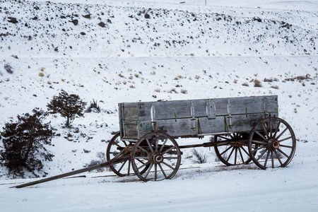 pioneer: An old pioneer wagon on the Montana prairie